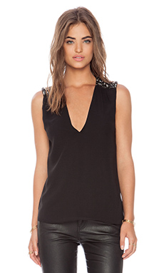 Alice + Olivia Harper Embellished Shoulder Tank in Black