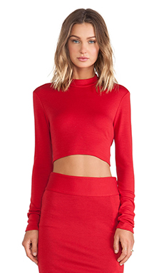 Alice + Olivia Mock Neck Crop Top in Royal Red