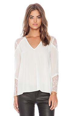 Alice + Olivia Lace Shoulder Blouse in Cream