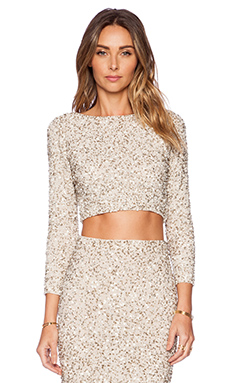 Alice + Olivia Lacey Embellished Top in Cream & Silver