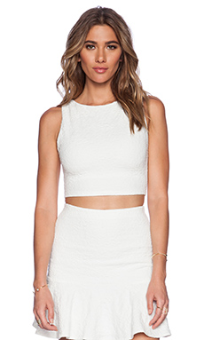 Alice + Olivia Iman Boat Neck Tank in Off White