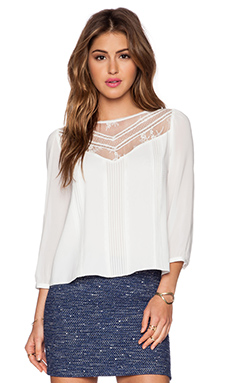 Alice + Olivia Heidi Lace Top in Off White
