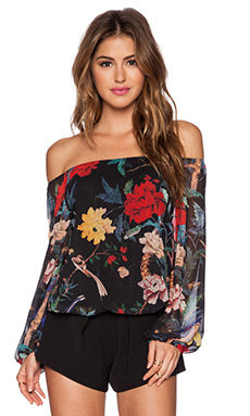 Alice + Olivia Alta Pesant Top in Floral Bird