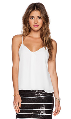 Alice + Olivia Khira Fold Over Flowy Tank in White
