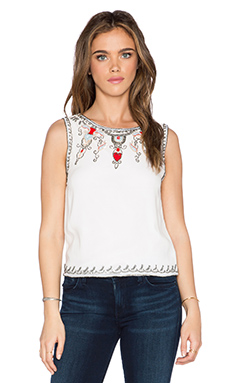 Alice + Olivia Cecille Embellished Crop Top in Off White & Multi