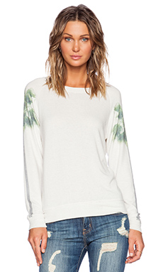 All Things Fabulous Sleeve Print Sweatshirt in Palm Tree