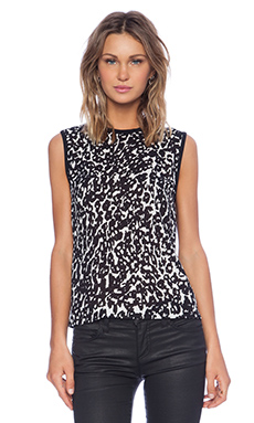 A.L.C. Cylus Top in White & Black Leopard