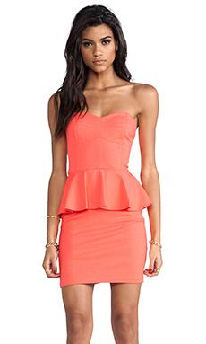 Amanda Uprichard Strapless Peplum Dress in Neon Orange