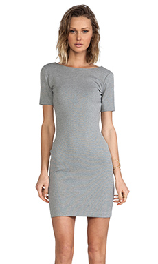Amanda Uprichard Short Sleeve Column Mini Dress in Heather Grey