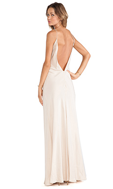 Amanda Uprichard Deep V Back Bias Maxi Dress in Desert