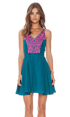 Amanda Uprichard Embroidered X-Back Dress in Teal & Hot Pink