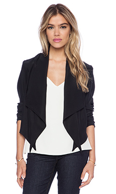Amanda Uprichard Slit Waterfall Blazer in Black