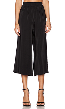 Amanda Uprichard Cropped Wide Leg Pant in Black
