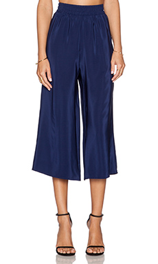 Amanda Uprichard Cropped Wide Leg Pant in Navy Light