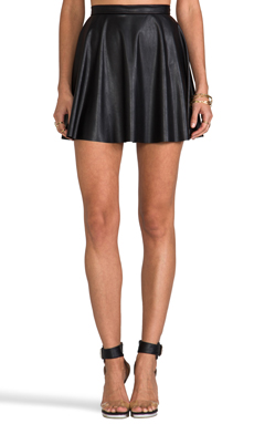 Amanda Uprichard Vegan Leather Circle Skirt in Black