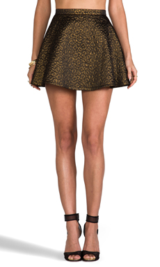 Amanda Uprichard Circle Skirt Brocade in Leopard
