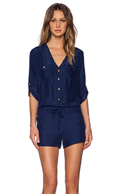 Amanda Uprichard Pocket Romper in Navy