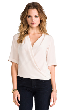 Amanda Uprichard Lana Drape Blouse in Bone