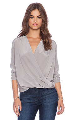 Amanda Uprichard Crossover Blouse in Smokey