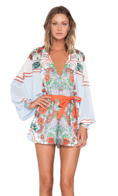 Alice McCall Sublime Vanille Playsuit in Bordered Bouquet
