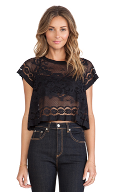 Alice McCall Primrose Crop Top in Jet Black