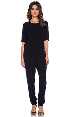 American Vintage Holiester 3/4 Sleeve Jumpsuit in Black