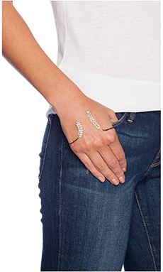 Alex Mika Leaf Palm Cuff in Gold