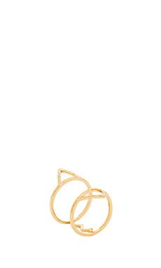 Alex Mika Zig Zag Triangle Ring in Gold