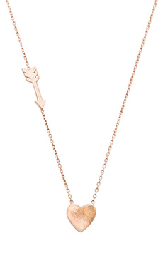Alex Mika Heart & Arrow Necklace in Rose Gold