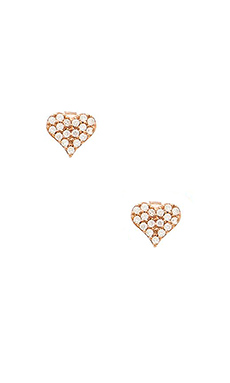 Alex Mika Heart Studs in Rose Gold