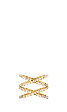 Alex Mika Stacked X Ring in Gold