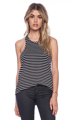 amour vert Martina Tank in Thin Black & White Stripe