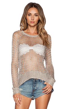 AMUSE SOCIETY Alyssa Sweater in Metallic Silver