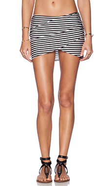 AMUSE SOCIETY Everyday Stripe Skirt in Black Sands