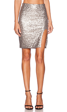 AMUSE SOCIETY Florence Skirt in Metallic Silver