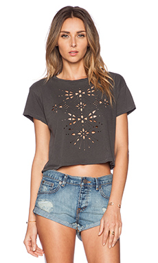 AMUSE SOCIETY Aztec Die Cut Cropped Tee in Charcoal