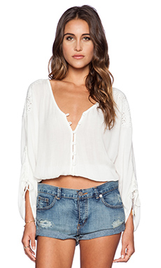 AMUSE SOCIETY Indie Woven Top in Casa Blanca