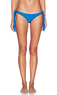 AMUSE SOCIETY Tangier Eyelet Cheeky Bikini Bottom in Medina Blue