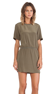 ANINE BING Short Sleeve Silk Dress in Olive