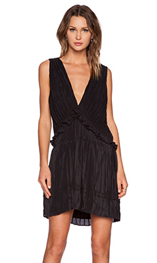 ANINE BING Pleated Silk Dress in Black