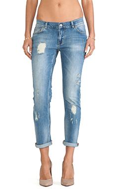 ANINE BING Distressed Jean in Light Wash
