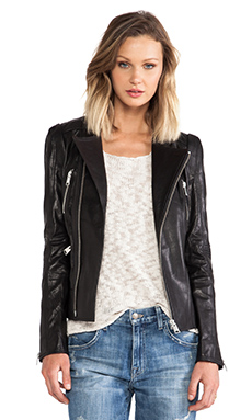 ANINE BING Structured Leather Jacket in Black