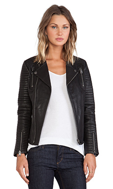 ANINE BING Classic Quilted Leather Jacket in Black