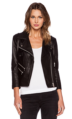 ANINE BING Cropped Leather Jacket in Black