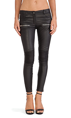 ANINE BING Moto Leather Pant in Black