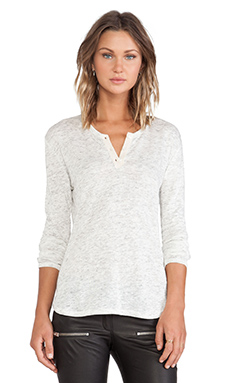 ANINE BING Long Sleeve Henley Tee in Snow Melange
