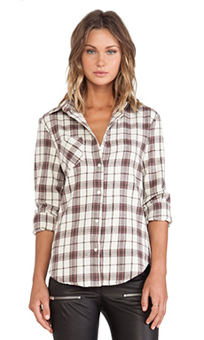 ANINE BING Ivory Plaid Shirt in Plaid