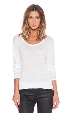 ANINE BING Long Sleeve Linen Tee in White