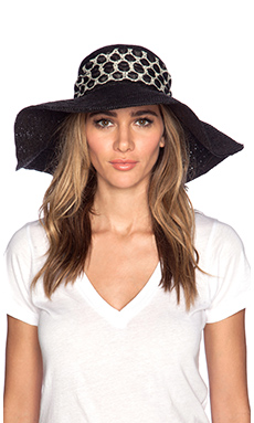 Artesano Playa Crochet Hat in Black & Print