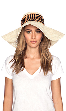 Artesano Playa Crochet Hat in Natural & Print